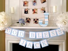 Baptism Banner - Baptism Party Decor - Customizable Baptism Banner - Boy Baptism or Girl Baptism Decorations Banner - Baby Shower Banner by TwoChihuahuas on Etsy Baptism Banner, Baptism Party, Baptism Ideas, Baptism Reception, Baptism Pictures, Baptism Favors, Bunting Banner, Baby Boy Christening, Girl Baptism