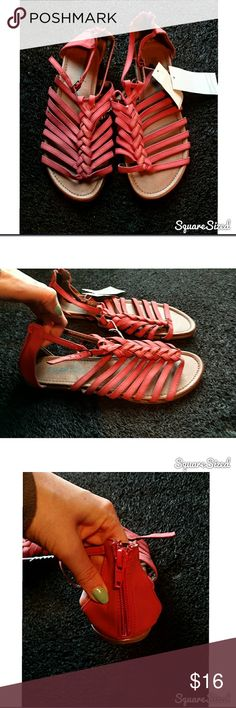 Braided Summer Sandals Women's size 8 dark coral / light red braided sandals with an adjustable strap around the ankle. Super cute and perfect for summer! They are not real leather so won't last forever but these are the perfect cute pair for the season! New with tag, never worn. Shoes Sandals