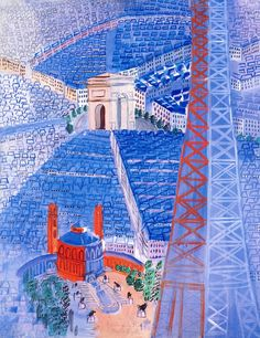 The Eiffel Tower Raoul Dufy - 1929-1930  Private collection	 Painting - gouache  Height: 74 cm (29.13 in.), Width: 57.2 cm (22.52 in.)