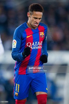 Neymar Jr. of FC Barcelona celebrates after scoring goal during the Copa del Rey Quarter Final, First Leg match between Real Sociedad de Futbol and FC Barcelona at Estadio Anoeta on January 19, 2017 in San Sebastian, Spain.