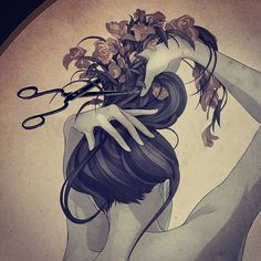 Pen Drawing - Draw - Art - Illustration - Pencil - Portrait - Pencil Sketch - Marker Drawing - Scissors Illustration