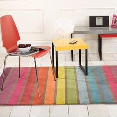 Add a burst of colour to your living space with this Illusion Candy Multicoloured Wool Rug. Hand tufted using wool, this eye-catching geometric striped rug features a vibrant and colourful design Tapis Funky, Funky Rugs, Color Stripes, Stripes Design, Design Bleu, Living Room Furniture Sale, Childrens Rugs, Lord, Striped Rug