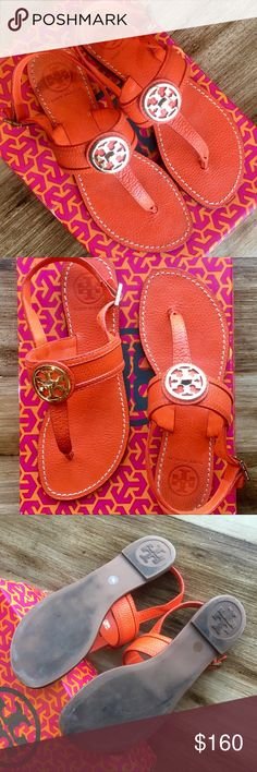 "Tory Burch Selma Sandals 7 Slingback Cassia Miller These Selma Tory Burch sandals are the PERFECT shoe for late summer and transitioning into warm fall days. EXCELLENT condition, only worn once or twice, and I'm certain the little bit of ""wear"" on the heels can be cleaned off.  These are in almost brand new condition and are a stunning and rich Fire orange pebbled leather. I can send with the box, although it is roughed up. The style is similar to the Cassia, but has a little more detail…"