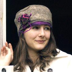 felt hat pillbox style made with merino wool,  Ines. $85.00, via Etsy.