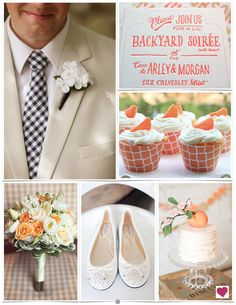 Our tangerine, peach and navy wedding inspiration board is perfect for a backyard Southern summer soirée, no? #orange #tangerine #peach #navy #Southern #summer #backyard #weddings #weddinginspiration #heartloveweddings color board
