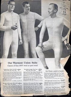 "History and Origins: Whence the Undershirt? ...................................Union suits emerged in the late 19th century as part of a widespread ""clothing reform"" movement, which attempted to apply modern manufacturing and scientific knowledge to the fashionable garments of the time in an effort to make them cheaper and more comfortable............................................................................................via artofmanliness.com #unionsuit"