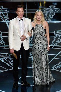 2015 ACADEMY AWARDS ~ Photo: Benedict Cumberbatch & Naomi Watts present the Oscar for Film Editing.