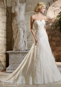 Mori Lee - Crystal Beaded, Alençon Lace Appliqués on Net Over Chantilly Lace with Scalloped Hemline Lace
