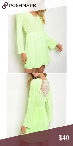 0144745fc00 Neon Lime dress with white lace back NWT Gorgeous neon dress with lace  detail back.