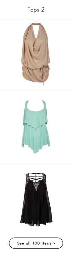 """""""Tops 2"""" by salstratton ❤ liked on Polyvore featuring tops, shirts, blusas, blouses, halter tops, wrap around top, open-back shirts, halter shirt, halter-neck tops and tank tops"""