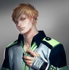 Tags: Anime, Nose Piercing, Gray Background, Sakimichan, Bandaged Hand, DRAMAtical Murder, Noiz (DMMd)