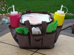 The Mini Organizer works great for eating outdoors.  Place your napkins in the middle with your condiments and silverware around the outside and you're all set!