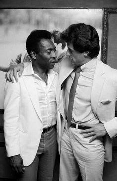 Pelé and Sylvester Stallone Sylvester Stallone, Frank Stallone, Stallone Rocky, Jackie Stallone, World Best Football Player, Soccer Players, Brigitte Nielsen, Andre Luis, John Rambo