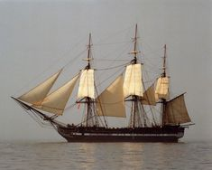 """njnavyguy: """" USS Constitution with eight sails set while underway in Boston Harbor, c.2005. U.S. Navy Photo. history.navy.mil """""""