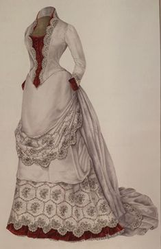 """This ""visiting dress,"" dated 1883, is made of wool. It is constructed of multiple pieces. The waist has eight fitted parts, six in back and two in front. The overskirt is draped from the bustle at the back where it falls in a train. The vest, cuffs, and ruffle around the bottom of the skirt are of red velvet."""