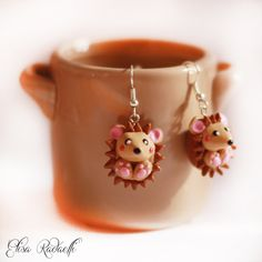 hedgehog earrings polymer clay by ElisaRadaelli on Etsy, €8.00