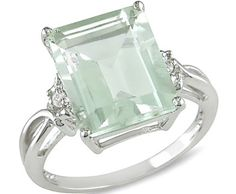❤ Green Amethyst and White Topaz Ring in Silver ❤
