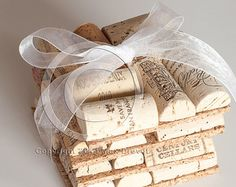 Wine Cork Coasters Set of Four, Wine Cork Crafts, Wholesale, Unique Wedding Favors, Bar Gift