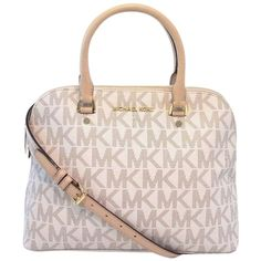Pre-owned Michael Kors Michael - Large Cindy Mk Signature Dome Vanilla... ($225) ❤ liked on Polyvore featuring bags, handbags, satchel purse, pocket purse, accessories handbags, purse and navy blue handbags