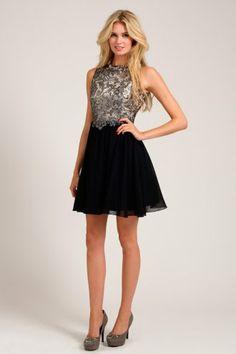 Little Mistress Silver & Black Metallic Lace Overlay Skater Dress