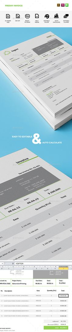 Invoice Template, Font logo and Mockup - invoice logo