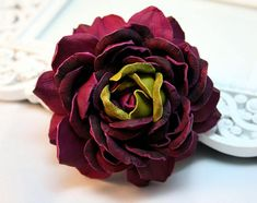 The flower brooch measures ap inches cm) and is made of genuine leather.Color - purple and olive greenStandard International Delivery from Latvia (Europe) to the U. via Latvia Post app. Female Pleasure, Rose Headband, Body Adornment, Leather Flowers, Flower Brooch, Green Leather, Leather Jewelry, Fabric Flowers, Red Roses