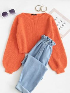 Jersey Cuello Redondo Manga Linterna - Naranja S Really Cute Outfits, Cute Lazy Outfits, Girly Outfits, Retro Outfits, Stylish Outfits, Girls Fashion Clothes, Teen Fashion Outfits, Women's Clothes, Mein Style