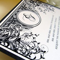 Black and White Wedding Invitation Art Nouveau Monogram - Layered Wedding Invitation Sample Set
