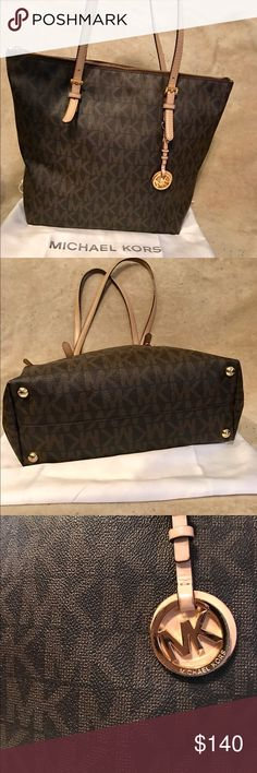 Michael Kors Hayley Authentic Michael Kors Hayley Large Top-Zip Brown Leather Monogram Tote Great conditions! Clean from inside out and conditioned! Michael Kors Bags Totes