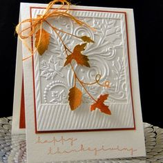 Thanksgiving 2016 Darice EF, SU frame, MemoryBox Grapevine, IO sentiment.I used Distress ink to color the twine to match. Created by Peggy Dollar