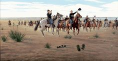 This painting commemorates the June 26, 1867 battle between U.S. Seventh Cavalry troops and Cheyenne Indians, near Ft. Wallace, Kansas. Capt. Albert Barnitz and his bugler, Edward Botzer, are seen urging the men forward towards the attacking Cheyenne. In the ensuing battle, six soldiers were killed and six wounded. Shortly thereafter, their comrades dedicated a monument in their honor.