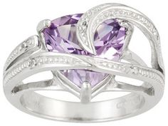 7.55ctw Trillion Brazilian Amethyst And Round White Topaz Accent Sterling Silver Ring