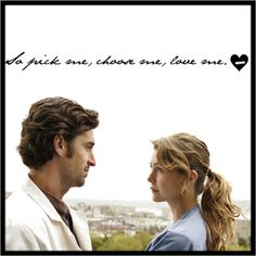 Grey's I miss when this show was amazing, right at the beginning when it was just Meredith and Derek: dark and twisty and the guy who loves her. Grey Quotes, Tv Quotes, Meredith And Derek, Dark And Twisty, Patrick Dempsey, Tv Couples, Choose Love, Me Tv, Greys Anatomy