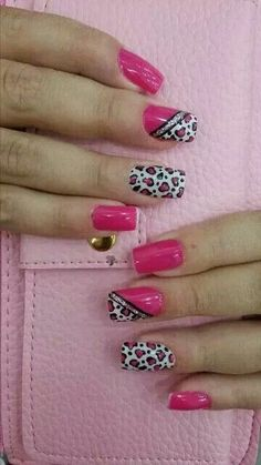 Cute Valentine Nail Art Designs for 2020 - Leopard Print Ideas : Easy Leopard Print Nail Art Cute Acrylic Nails, Cute Nails, Pretty Nails, Tiger Nails, Leopard Print Nails, Acrylic Nail Designs, Nail Art Designs, Valentine Nail Art, Nagel Gel