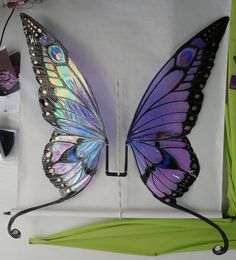 Ginormous Butterfly Wings by FaeryAzarelle on deviantART (pic only) Lime, forest green, blue and black on iridescent film over an aluminum frame. *Please note, my wing photos are © Fancy Fairy and Angela Jarman.Cute Pixie fairy wings inspired by the Giant Butterfly, Butterfly Fairy, Butterfly Costume, Butterfly Halloween, Parrot Costume, Halloween Fairy, Diy Wings, Diy Fairy Wings, Fairy Dress