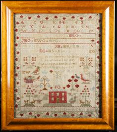 "American Sampler ~ Pennsylvania ~ surrounded by a strawberry border the top letters and numbers over a scene with red brick house, trees, animals and birds with the name, ""Isabella Groundwater Age 19,"""