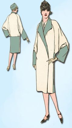 1920s Vintage McCall Sewing Pattern 4828 Uncut Plus Size Womens Flapper Coat 40B…