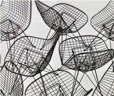 Charles #Eames, Eiffel Tower #Chair photograph, circa 1951. Silver Gelatin print. Presenting Charles and Ray Eames Wire chair, designed in 1951 for Herman #Miller, USA.
