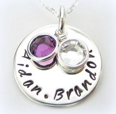 Name Pendant Birthstone Necklace - Sterling Silver Personalized 2 Names - Mom Jewelry 3/4 inch disc
