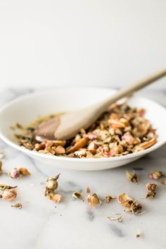 Rose Petal Granola with Pecan and Cacao Nibs