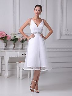 A Line V Neck Tea Length Wedding Dress with Trimmed Tulle Overlay - USD $115.00