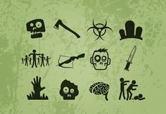 Free Vector Zombie Icons  Download >> http://medialoot.com/item/free-vector-zombie-icons/