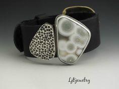 Black Leather Bracelet Sterling Silver Ocean Japser von LjBjewelry