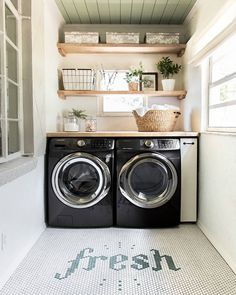 58 Stylish Laundry Room Design Ideas To Inspiring You > Fieltro. Tiny Laundry Rooms, Laundry Room Remodel, Farmhouse Laundry Room, Laundry Room Storage, Small Laundry, Laundry Room Design, Laundry Closet, Laundry Area, Laundry Drying