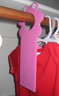 Foam door hangers to use as clothes size separators!