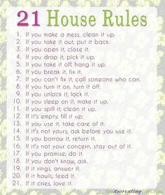 Family House Rules. These rules are simple, straightforward and get right to the point.