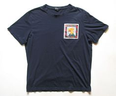 FRED PERRY MENS M medium PADDY SMITH NAVY BLUE T-SHIRT #FREDPERRY #EmbellishedTee