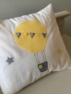 ef196fb13008 Hand made nursery cushion covers hot air balloons yellow grey chevron  spotty modern contemporary vintage