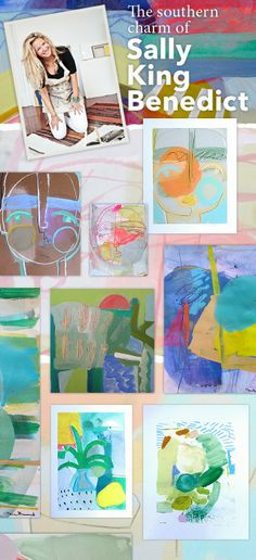 i suwannee: new pop up shop live! SALLY KING BENEDICT - - I loooove this artist! Her work is bright, colorful and eclectic.