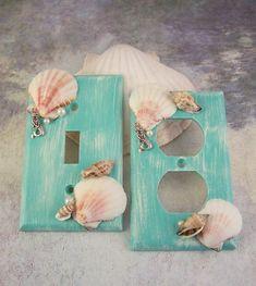 Mermaid Switchplates Mermaid Decor Mermaid Switch Plate Covers Mermaids Mermaid Bedroom Bathroom Mermaid Nursery Beach Home Decor Walls Seashell art Mermaid Bathroom Decor, Mermaid Bedroom, Beach Theme Bathroom, Beach Room, Beach Bathrooms, Mermaid Nursery Theme, Bathroom Sets, Mermaid Wall Decor, Bathroom Mirrors
